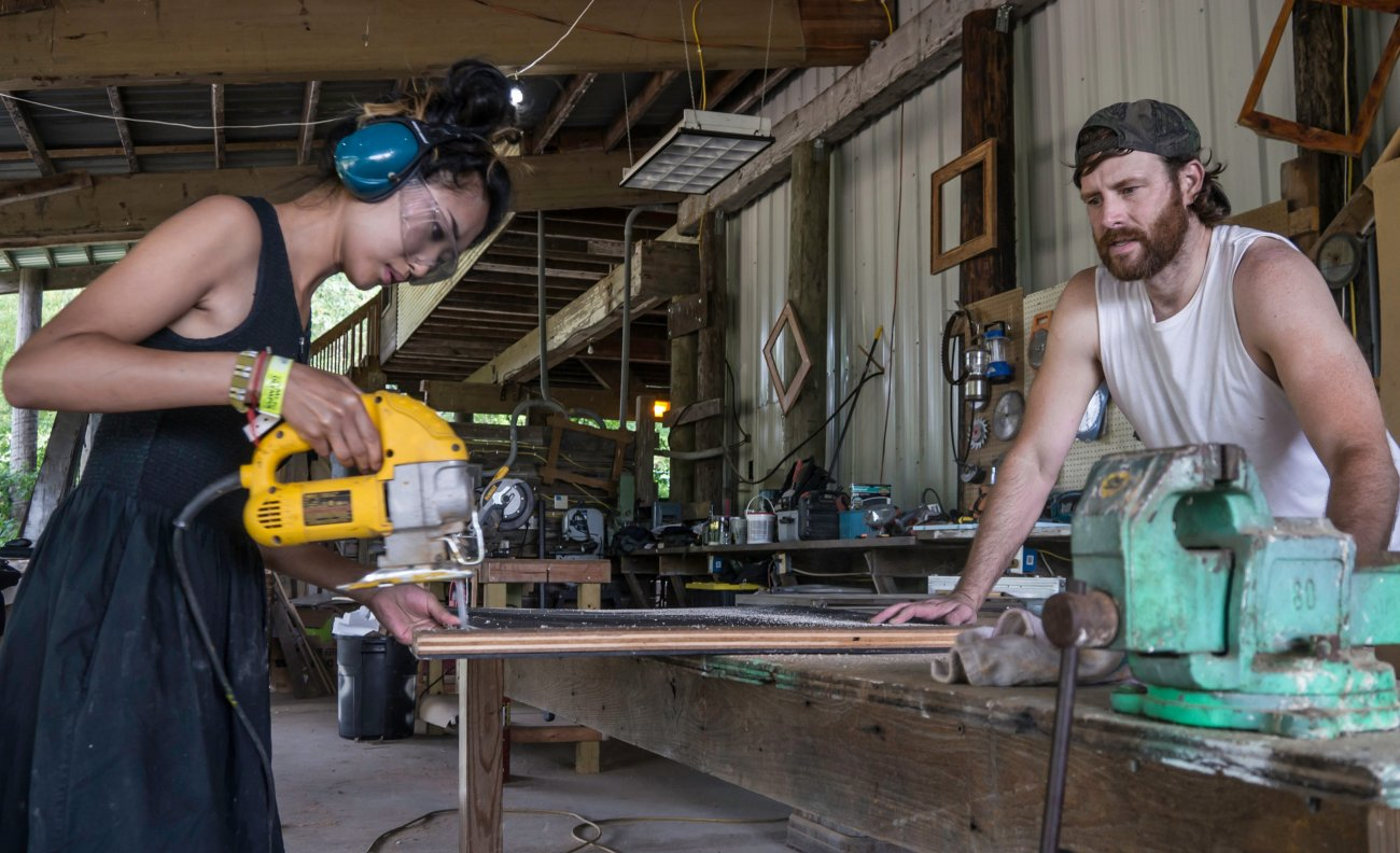 ACRE's woodshop is a 2000 square foot covered, outdoor area with a newly- poured concrete floor, new electric, and lots of work tables.