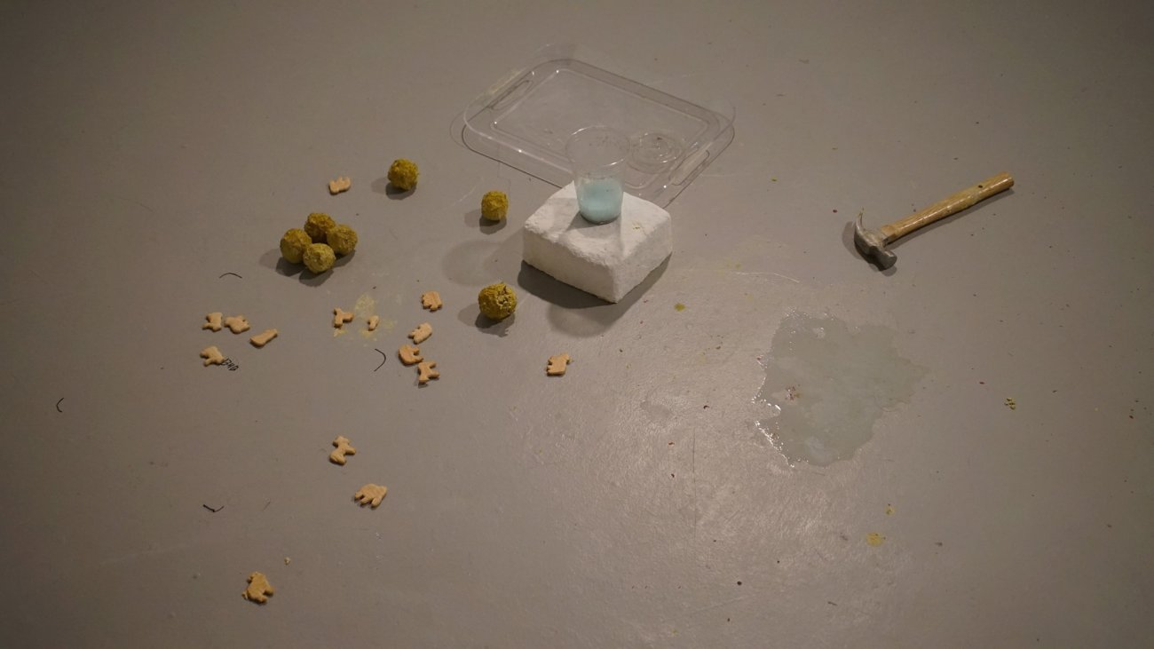 Documentation of objects from past performance including a hammer, animal crackers, and a plastic cup filled with a light blue substance.