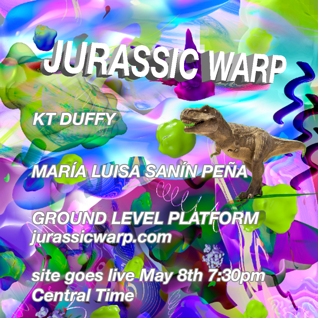 Digital flyer for website with colorfol 3D renderings and T-Rex, text with information about the site.