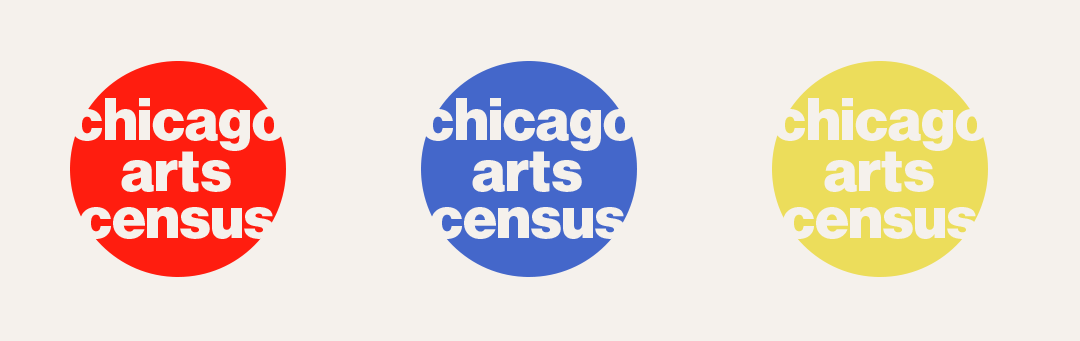 Three circles, red, blue, and red in a horizontal line. each circle holds the words chicago arts census