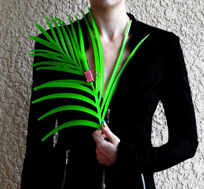 Photograph of figure wearing black jacket holding a palm leaf with a pink binder clip attached.