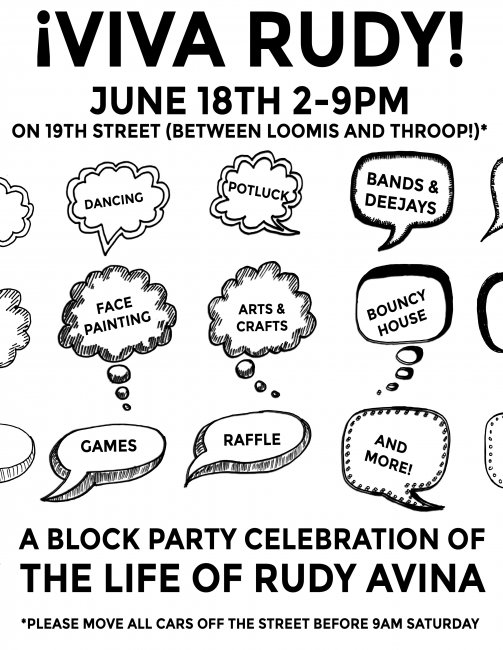 Black and white illustrated flyer for the block party