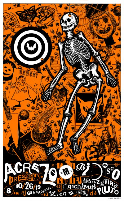 skeleton over a collaged halloween background with descriptive text of time and djs at the bottom of the poster